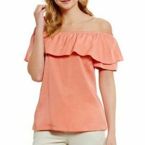 H by Halston Off the Shoulder Ruffle Blouse